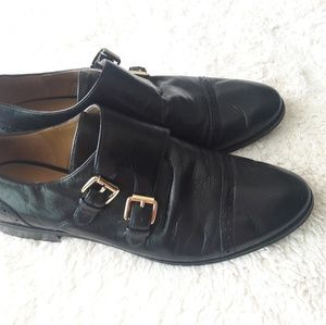 Nine West Leather Monk Strap Oxfords Flats Loafers